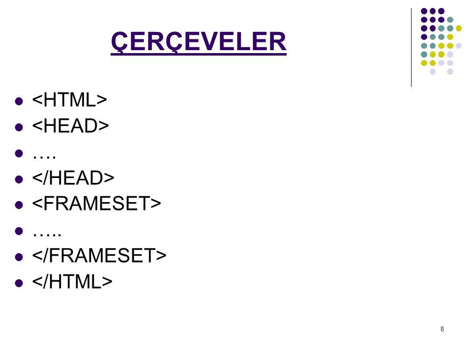 29 etiketi ile kullanılan parametreler şunlardır: name Çerçevenin adıdır.