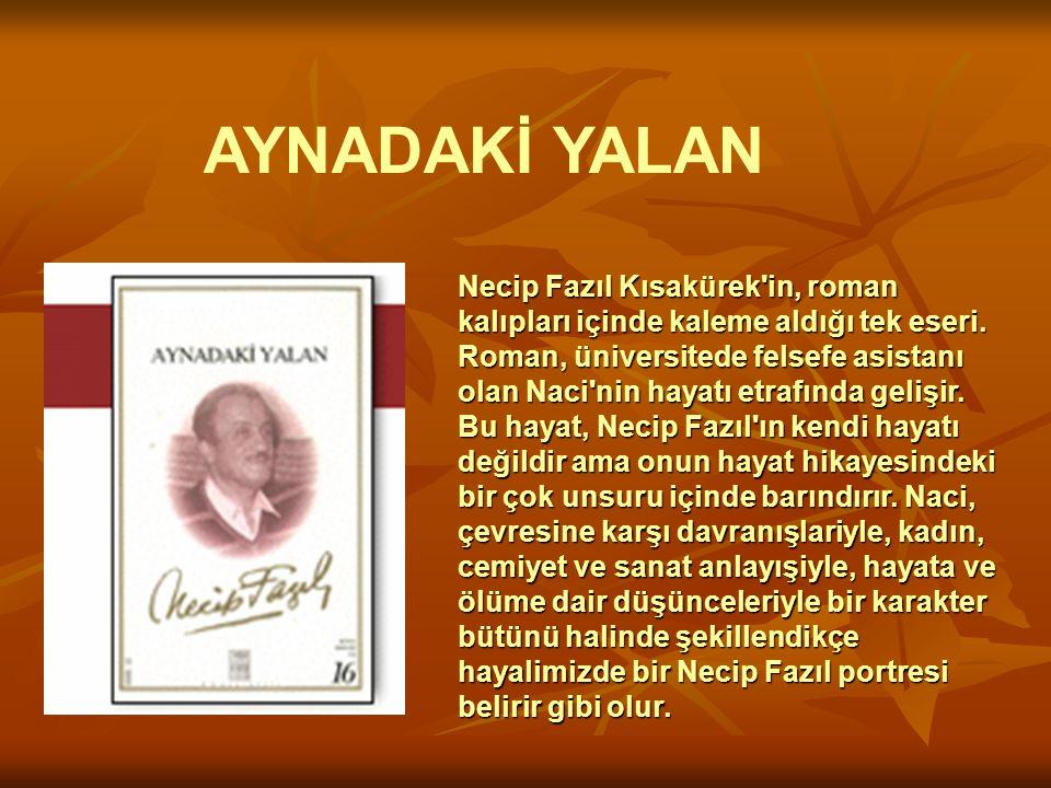 Necip Fazıl Kısakürek'in, roman kalıpları içinde kaleme aldığı tek eseri. Roman, üniversitede felsefe asistanı olan Naci'nin hayatı etrafında gelişir.
