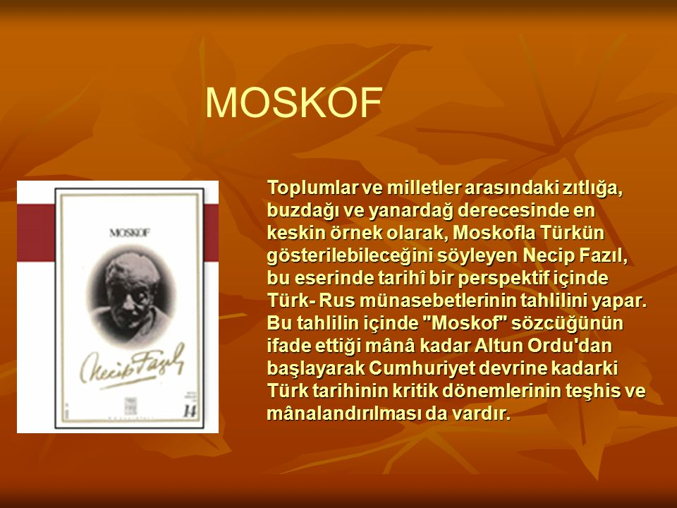 Toplumlar ve milletler arasındaki zıtlığa, buzdağı ve yanardağ derecesinde en keskin örnek olarak, Moskofla Türkün gösterilebileceğini söyleyen Necip