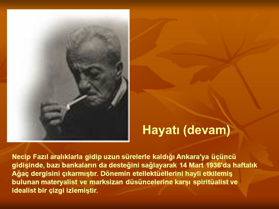 Necip Fazıl aralıklarla gidip uzun sürelerle kaldığı Ankara'ya üçüncü gidişinde, bazı bankaların da desteğini sağlayarak 14 Mart 1936'da haftalık Ağaç