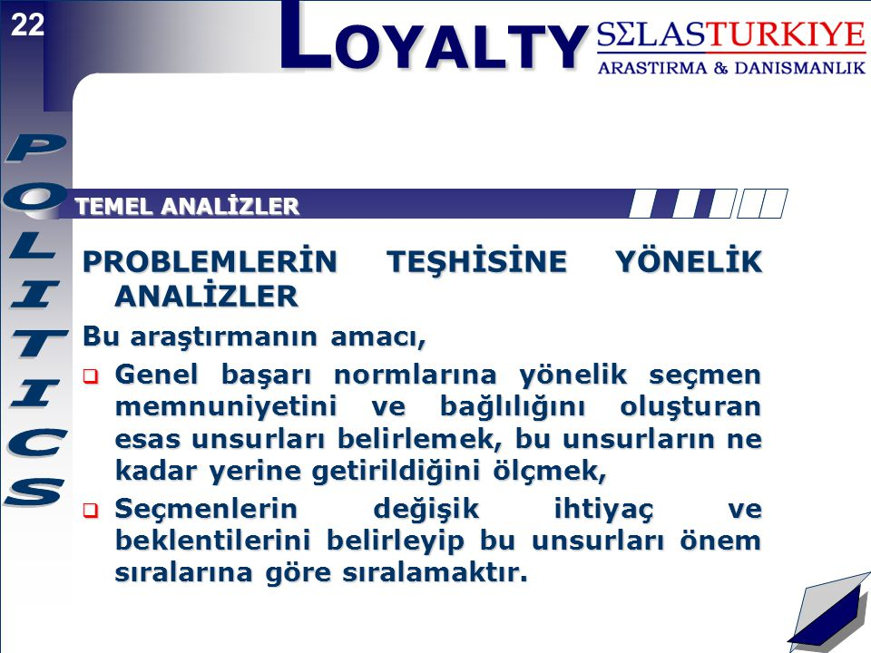 L OYALTY 21 Sadakat Gridi - Unsurların Yerleşimi  Ankette sorgulanan unsurlara seçmenler tarafından verilen puanlar bu konuda Parti/adayın başarı düzeyini göstermektedir.