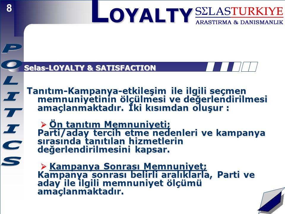 L OYALTY 8 Selas-LOYALTY & SATISFACTION Tanıtım-Kampanya-etkileşim ile ilgili seçmen memnuniyetinin ölçülmesi ve değerlendirilmesi amaçlanmaktadır.