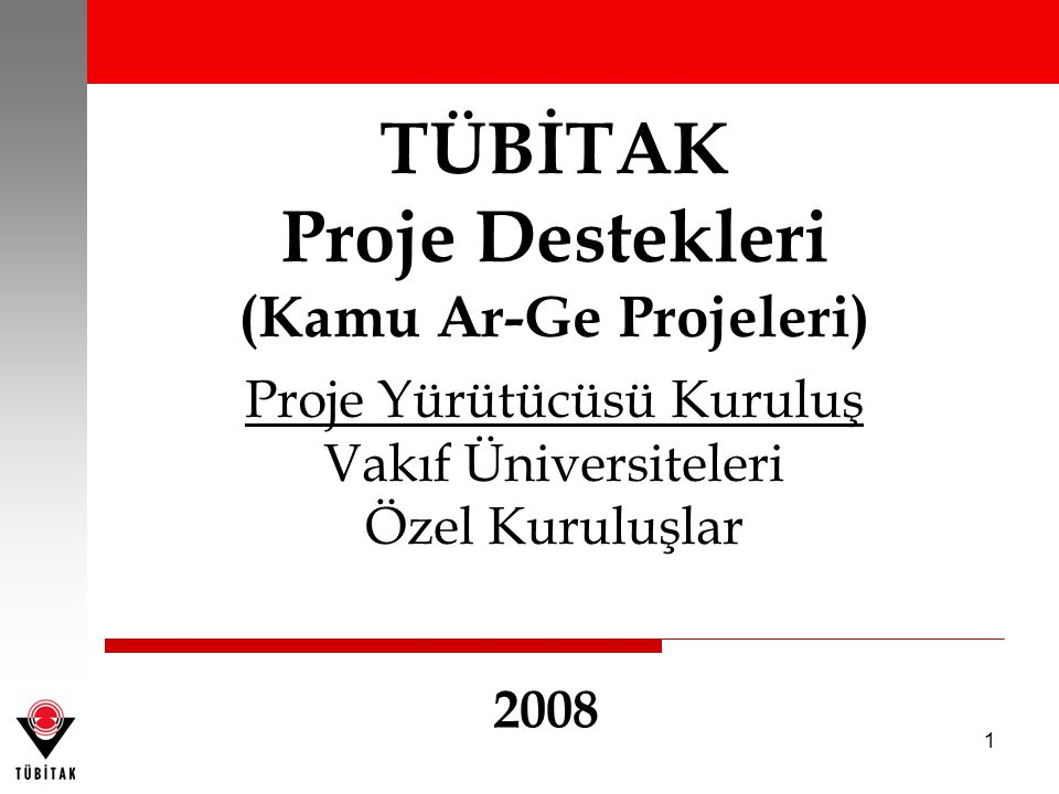 1 TÜBİTAK Proje Destekleri (Kamu Ar-Ge Projeleri) Proje Yürütücüsü Kuruluş Vakıf Üniversiteleri Özel Kuruluşlar 2008