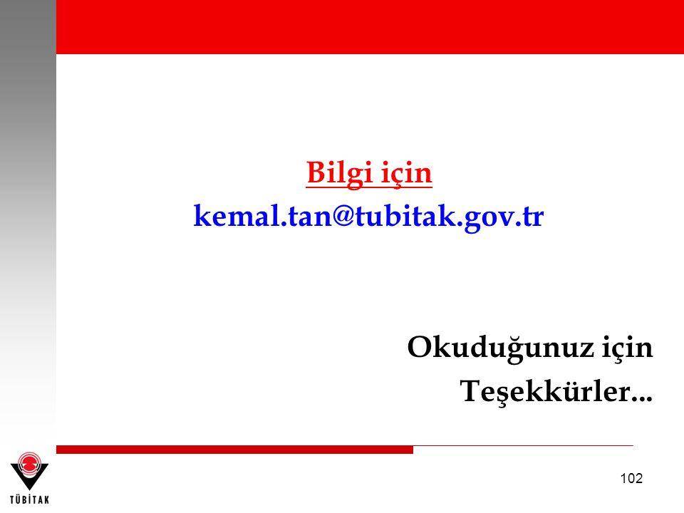 102 Bilgi için kemal.tan@tubitak.gov.tr Okuduğunuz için Teşekkürler...