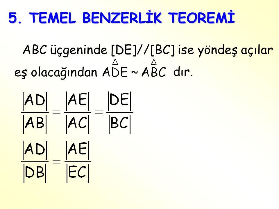 5. TEMEL BENZERLİK TEOREMİ ABC üçgeninde [DE]//[BC] ise yöndeş açılar eş olacağından dır.