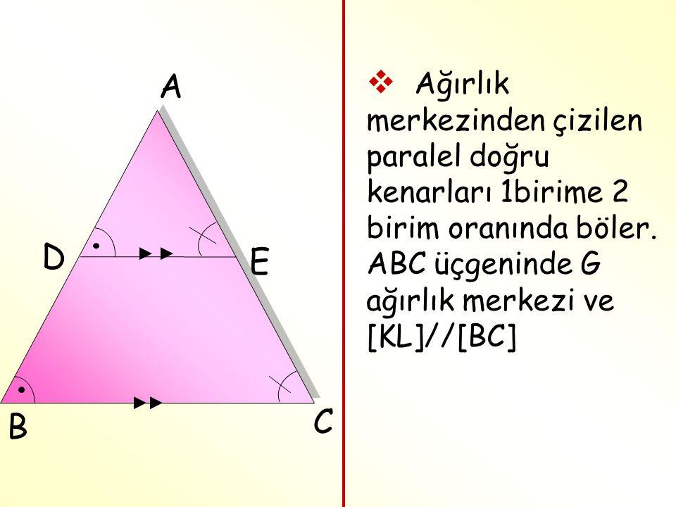  Ağırlık merkezinden çizilen paralel doğru kenarları 1birime 2 birim oranında böler. ABC üçgeninde G ağırlık merkezi ve [KL]//[BC] E D C B A