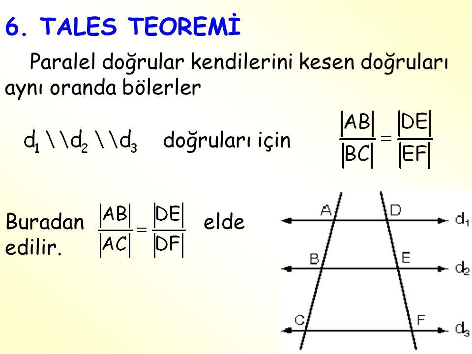 6. TALES TEOREMİ Paralel doğrular kendilerini kesen doğruları aynı oranda bölerler doğruları için Buradan elde edilir.