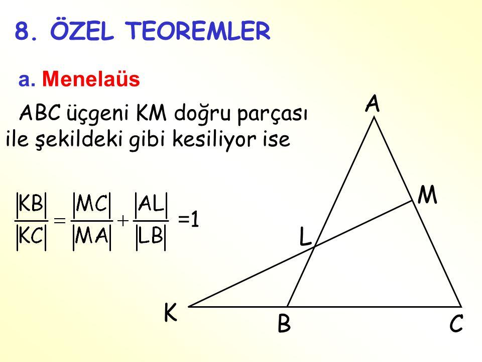 8. ÖZEL TEOREMLER a. Menelaüs ABC üçgeni KM doğru parçası ile şekildeki gibi kesiliyor ise =1=1 A BC K M L