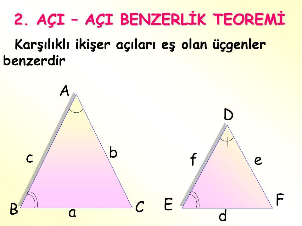 A B C c b fe D E F 2. AÇI – AÇI BENZERLİK TEOREMİ Karşılıklı ikişer açıları eş olan üçgenler benzerdir a d