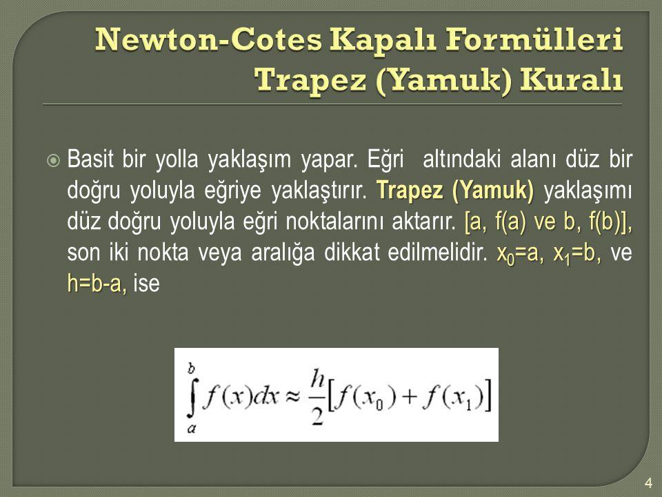 4 Trapez (Yamuk) [a, f(a) ve b, f(b)], x 0 =a, x 1 =b, h=b-a,  Basit bir yolla yaklaşım yapar. Eğri altındaki alanı düz bir doğru yoluyla eğriye yakl