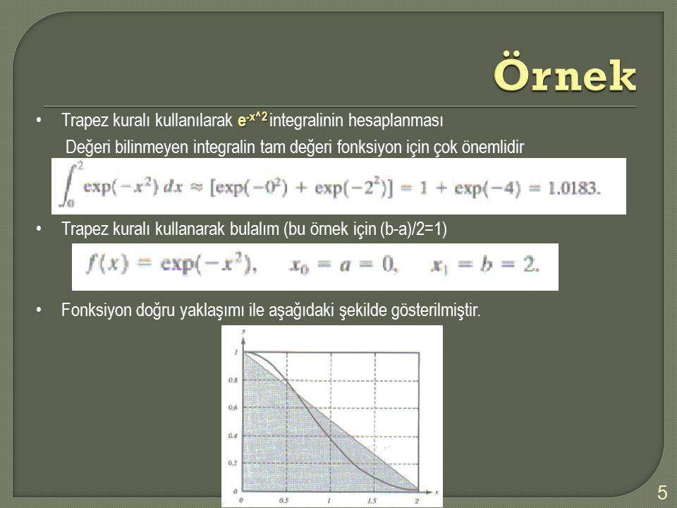 e -x^2Trapez kuralı kullanılarak e -x^2 integralinin hesaplanması Değeri bilinmeyen integralin tam değeri fonksiyon için çok önemlidir Trapez kuralı k