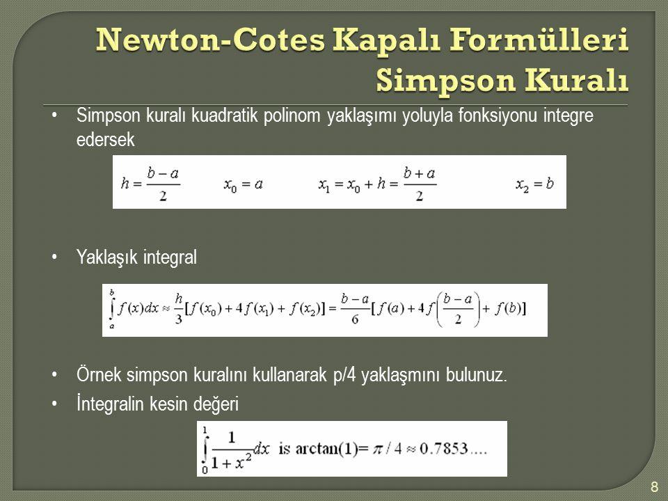 8 Simpson kuralı kuadratik polinom yaklaşımı yoluyla fonksiyonu integre edersek Yaklaşık integral Örnek simpson kuralını kullanarak p/4 yaklaşmını bul