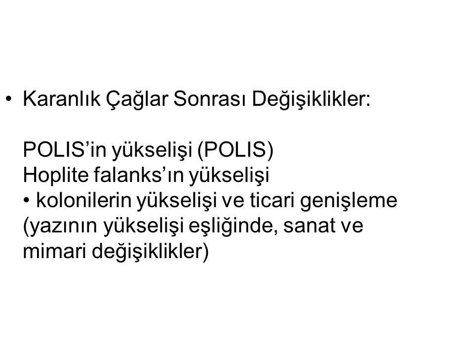 Karanlık Çağlar Sonrası Değişiklikler: POLIS'in yükselişi (POLIS) Hoplite falanks'ın yükselişi kolonilerin yükselişi ve ticari genişleme (yazının yüks