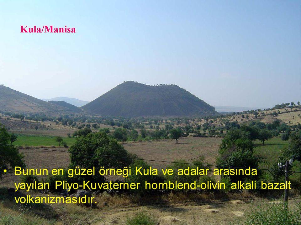 NEOTEKTONİK Doç.Dr. Yaşar EREN Bunun en güzel örneği Kula ve adalar arasında yayılan Pliyo-Kuvaterner hornblend-olivin alkali bazalt volkanizmasıdır.