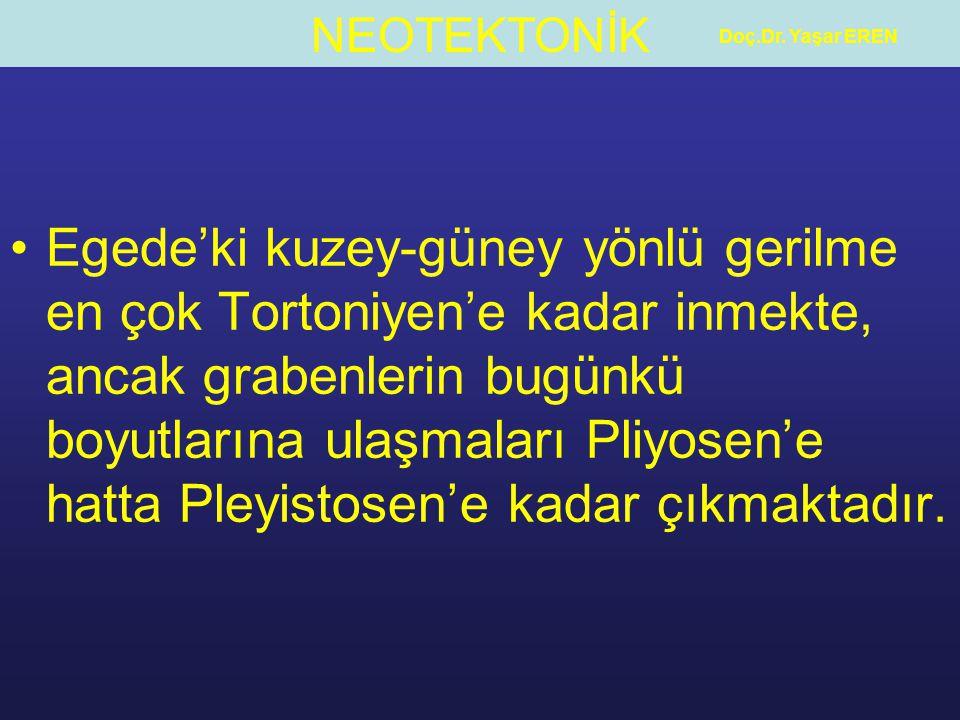 NEOTEKTONİK Doç.Dr. Yaşar EREN Egede'ki kuzey-güney yönlü gerilme en çok Tortoniyen'e kadar inmekte, ancak grabenlerin bugünkü boyutlarına ulaşmaları