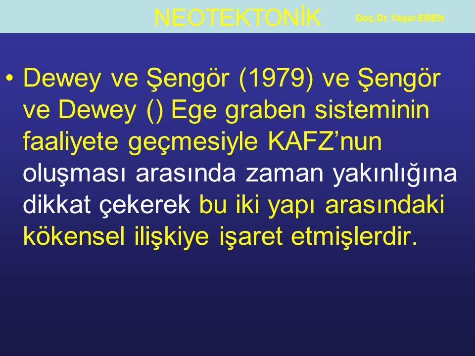 NEOTEKTONİK Doç.Dr. Yaşar EREN Dewey ve Şengör (1979) ve Şengör ve Dewey () Ege graben sisteminin faaliyete geçmesiyle KAFZ'nun oluşması arasında zama
