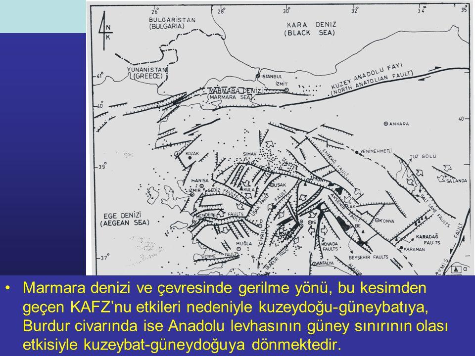 NEOTEKTONİK Doç.Dr. Yaşar EREN Marmara denizi ve çevresinde gerilme yönü, bu kesimden geçen KAFZ'nu etkileri nedeniyle kuzeydoğu-güneybatıya, Burdur c
