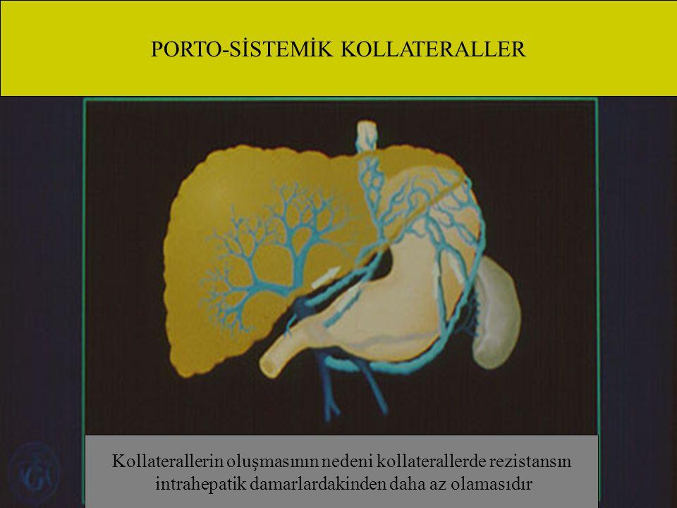 PORTO-SİSTEMİK KOLLATERALLER Kollaterallerin oluşmasının nedeni kollaterallerde rezistansın intrahepatik damarlardakinden daha az olamasıdır