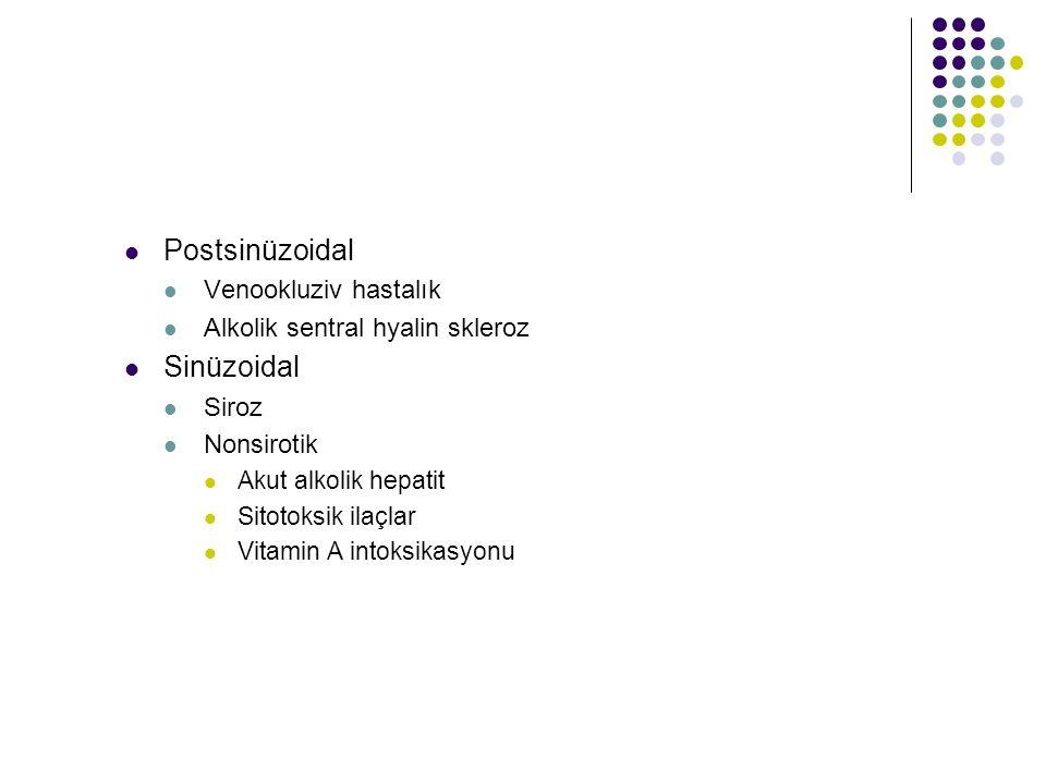 Postsinüzoidal Venookluziv hastalık Alkolik sentral hyalin skleroz Sinüzoidal Siroz Nonsirotik Akut alkolik hepatit Sitotoksik ilaçlar Vitamin A intok