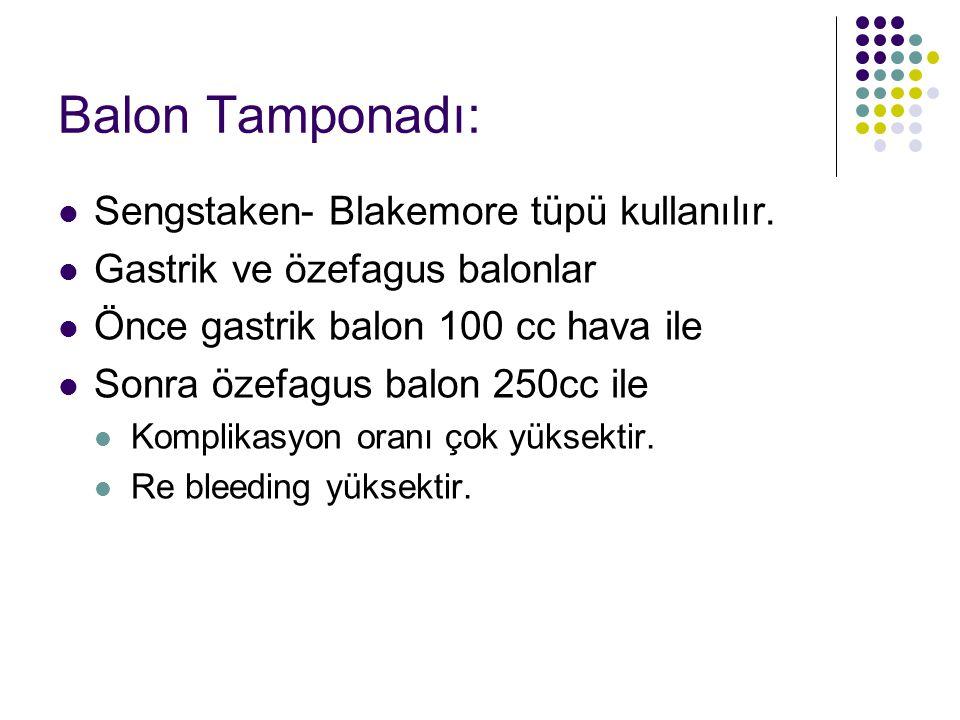 Balon Tamponadı: Sengstaken- Blakemore tüpü kullanılır. Gastrik ve özefagus balonlar Önce gastrik balon 100 cc hava ile Sonra özefagus balon 250cc ile