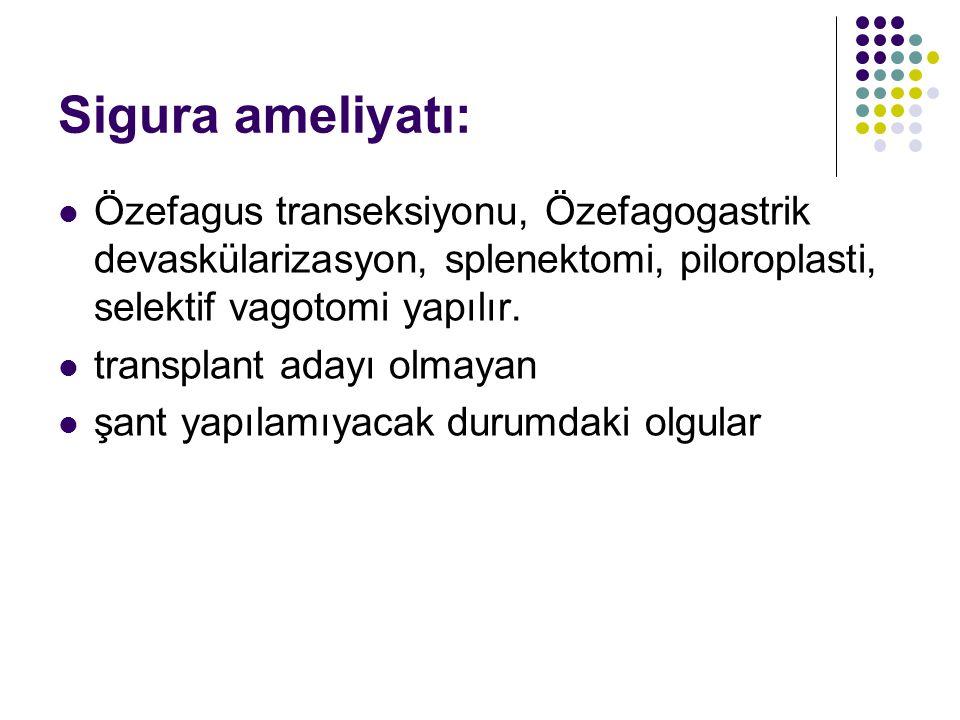 Sigura ameliyatı: Özefagus transeksiyonu, Özefagogastrik devaskülarizasyon, splenektomi, piloroplasti, selektif vagotomi yapılır. transplant adayı olm