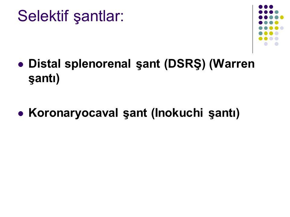 Selektif şantlar: Distal splenorenal şant (DSRŞ) (Warren şantı) Koronaryocaval şant (Inokuchi şantı)
