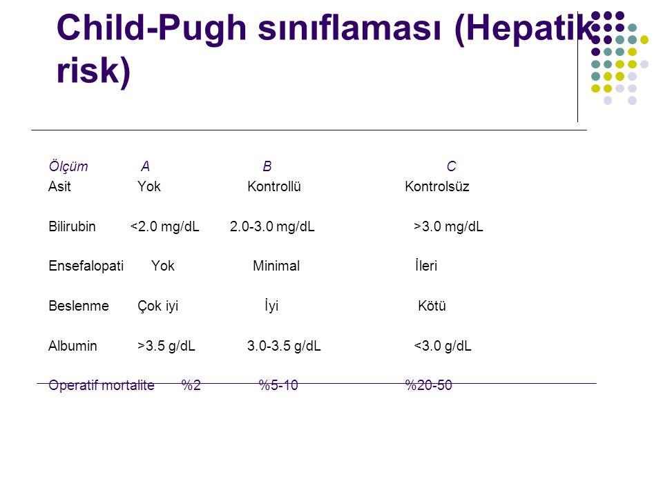 Child-Pugh sınıflaması (Hepatik risk) Ölçüm A BC Asit YokKontrollü Kontrolsüz Bilirubin 3.0 mg/dL Ensefalopati Yok Minimal İleri Beslenme Çok iyi İyi