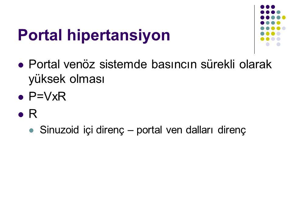 Portal hipertansiyon Portal venöz sistemde basıncın sürekli olarak yüksek olması P=VxR R Sinuzoid içi direnç – portal ven dalları direnç