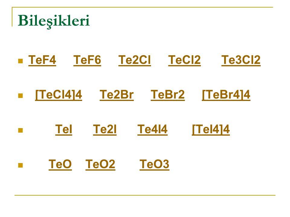 Bileşikleri TeF4 TeF6 Te2Cl TeCl2 Te3Cl2 TeF4TeF6Te2ClTeCl2Te3Cl2 [TeCl4]4 Te2Br TeBr2 [TeBr4]4[TeCl4]4Te2BrTeBr2[TeBr4]4 TeI Te2I Te4I4 [TeI4]4 TeITe2ITe4I4[TeI4]4 TeO TeO2 TeO3TeOTeO2TeO3