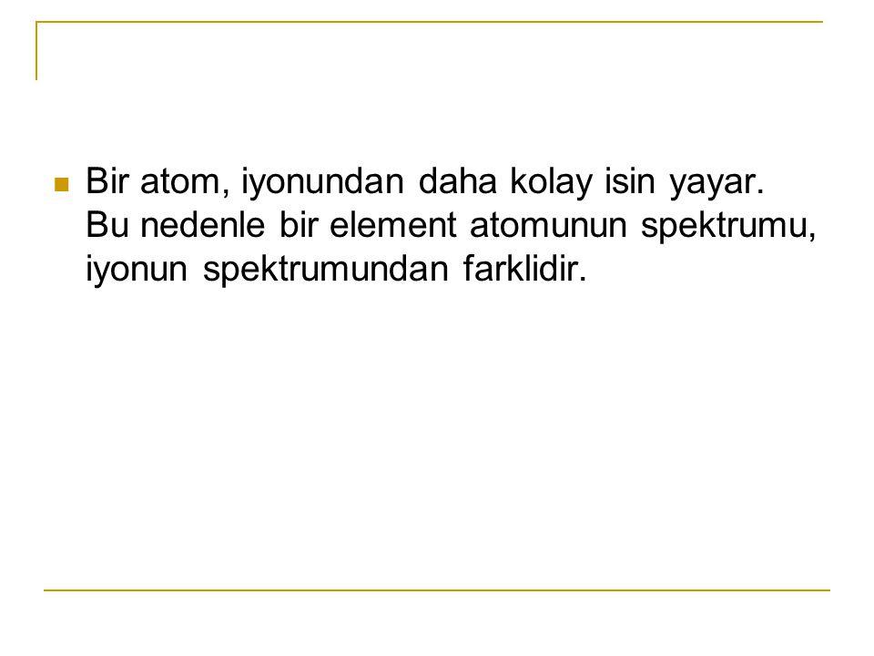 Bir atom, iyonundan daha kolay isin yayar.