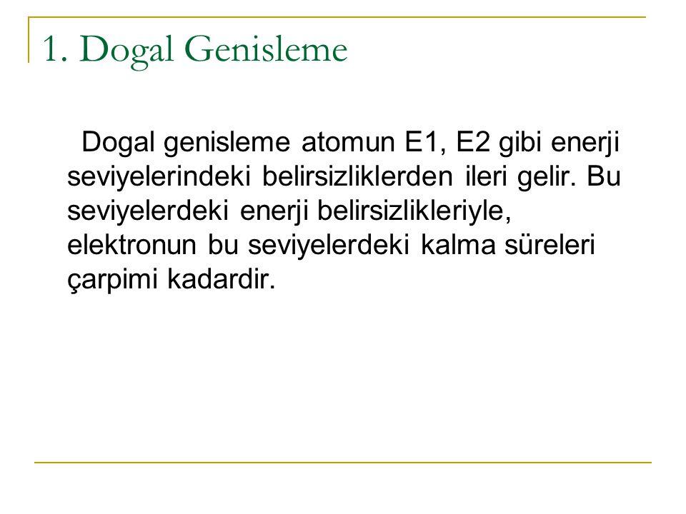 1. Dogal Genisleme Dogal genisleme atomun E1, E2 gibi enerji seviyelerindeki belirsizliklerden ileri gelir. Bu seviyelerdeki enerji belirsizlikleriyle