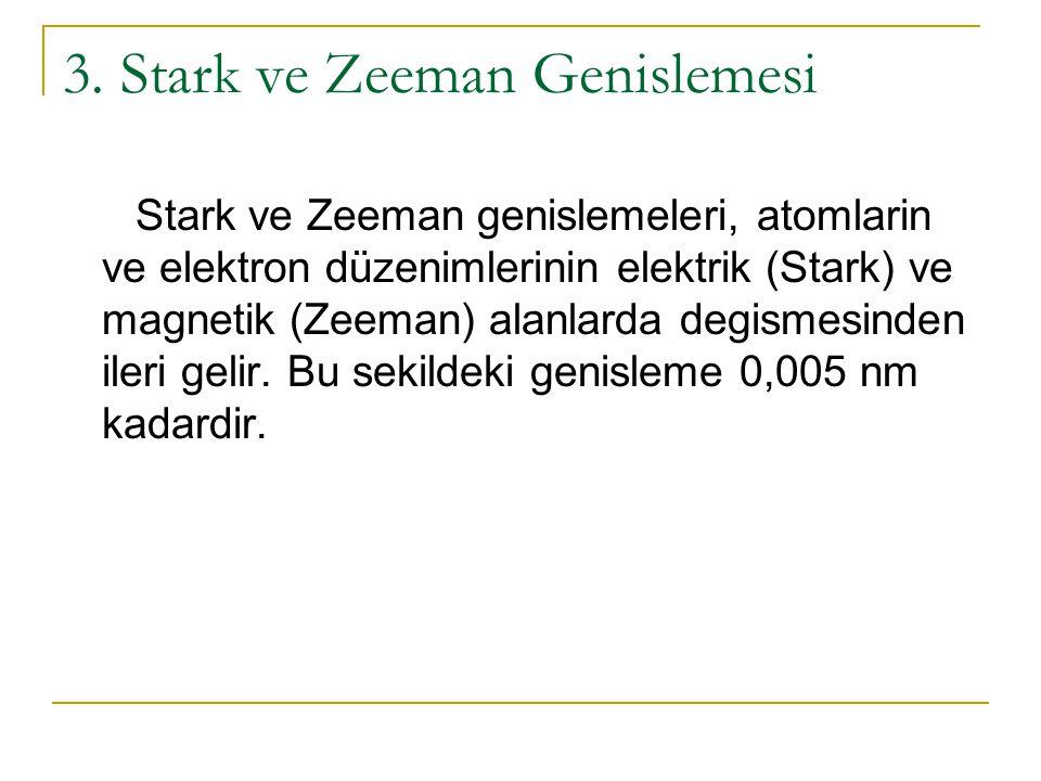3. Stark ve Zeeman Genislemesi Stark ve Zeeman genislemeleri, atomlarin ve elektron düzenimlerinin elektrik (Stark) ve magnetik (Zeeman) alanlarda deg