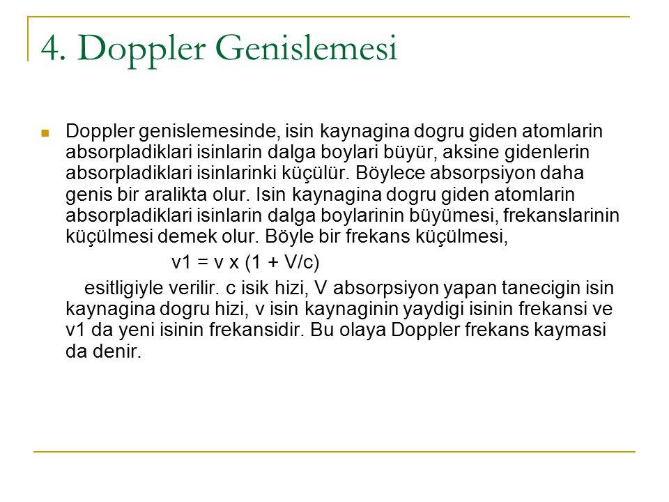 4. Doppler Genislemesi Doppler genislemesinde, isin kaynagina dogru giden atomlarin absorpladiklari isinlarin dalga boylari büyür, aksine gidenlerin a