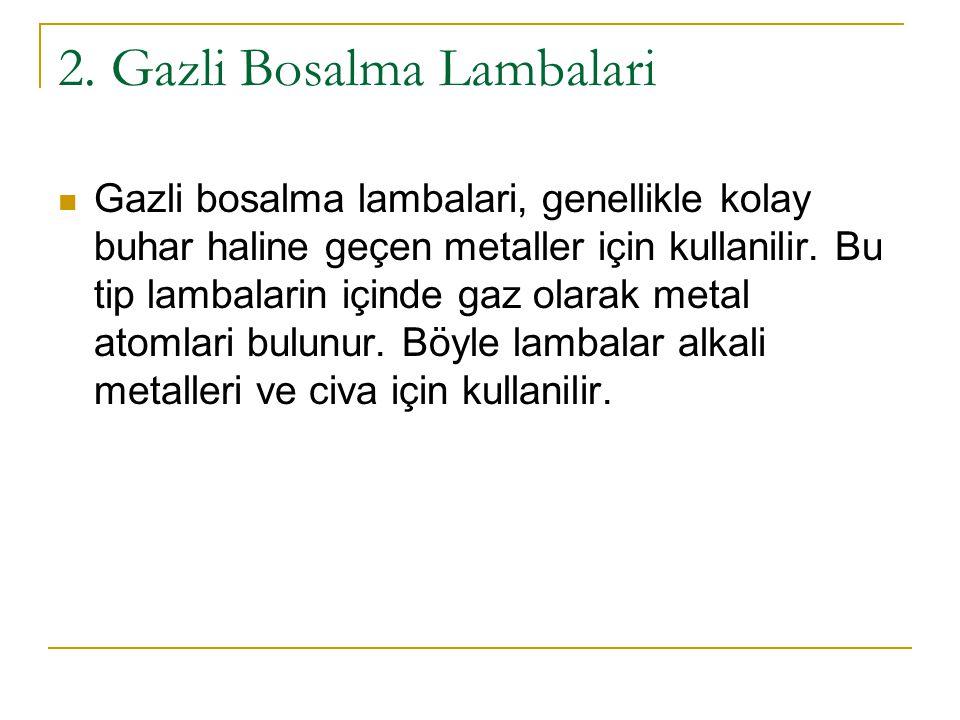 2. Gazli Bosalma Lambalari Gazli bosalma lambalari, genellikle kolay buhar haline geçen metaller için kullanilir. Bu tip lambalarin içinde gaz olarak