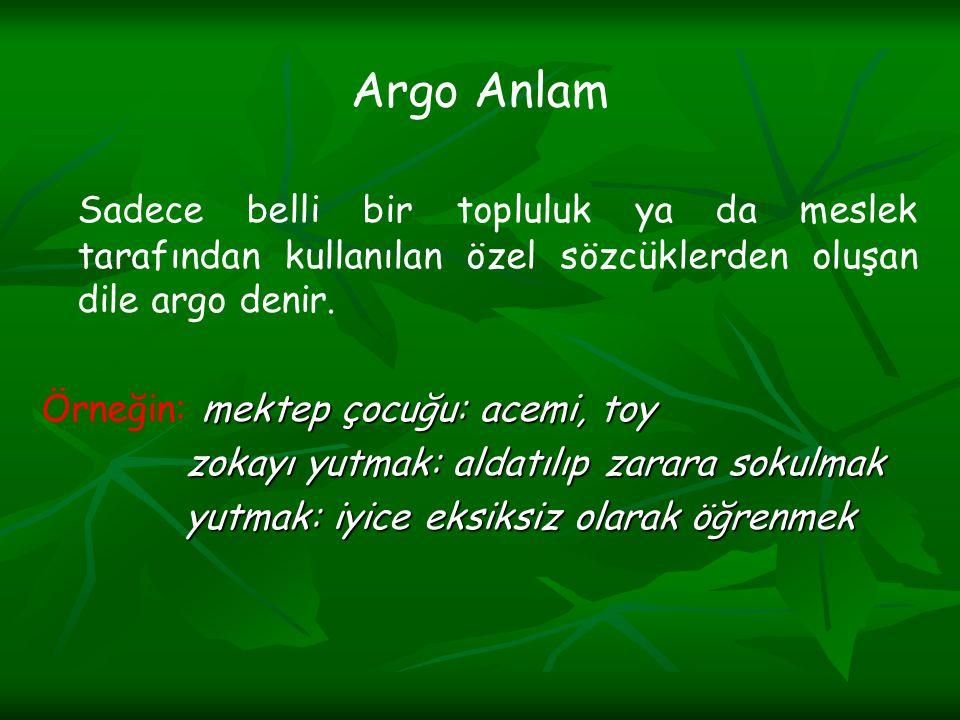 Argo Anlam Sadece belli bir topluluk ya da meslek tarafından kullanılan özel sözcüklerden oluşan dile argo denir. mektep çocuğu: acemi, toy Örneğin: m