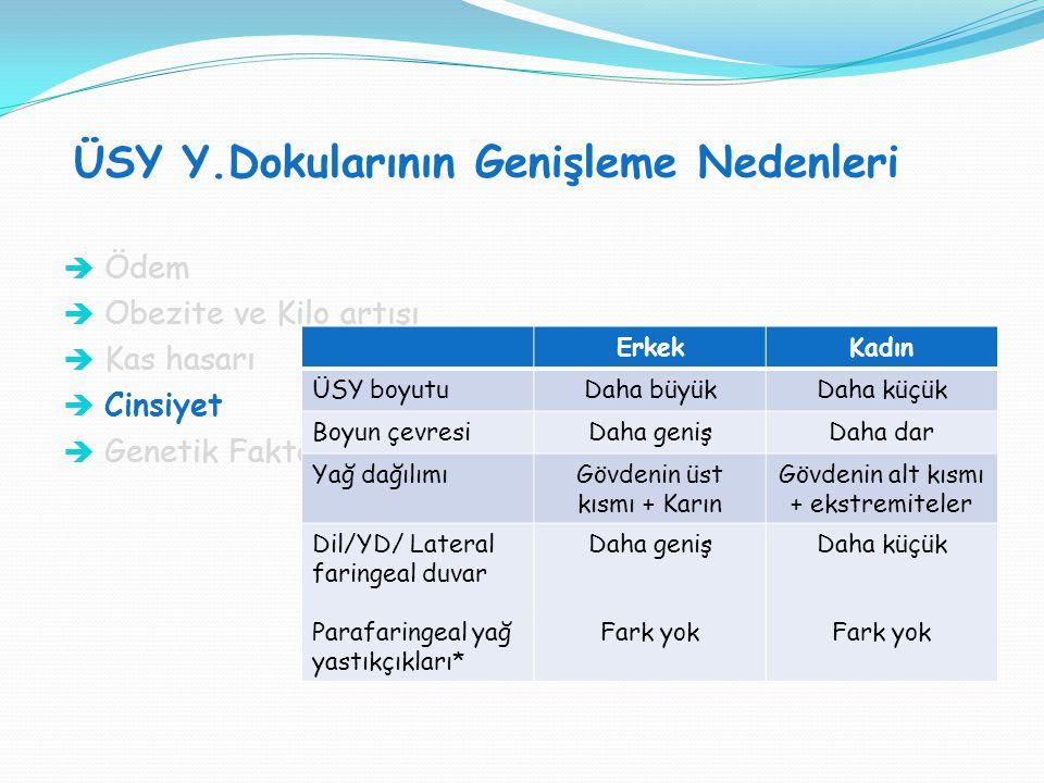 ÜSY Y.Dokularının Genişleme Nedenleri SVT H : SVT V = 1:1  Ödem  Obezite ve Kilo artışı  Kas hasarı  Cinsiyet  Genetik Faktörler ErkekKadın ÜSY b