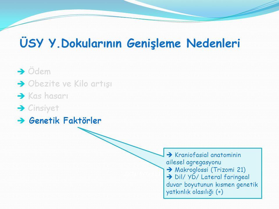 ÜSY Y.Dokularının Genişleme Nedenleri SVT H : SVT V = 1:1  Ödem  Obezite ve Kilo artışı  Kas hasarı  Cinsiyet  Genetik Faktörler  Kraniofasial a