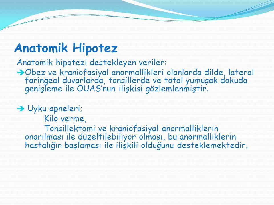 Anatomik Hipotez Anatomik hipotezi destekleyen veriler:  Obez ve kraniofasiyal anormallikleri olanlarda dilde, lateral faringeal duvarlarda, tonsille