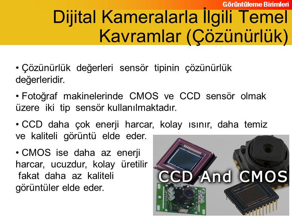 Görüntüleme Birimleri Çözünürlük değerleri sensör tipinin çözünürlük değerleridir. Fotoğraf makinelerinde CMOS ve CCD sensör olmak üzere iki tip sensö