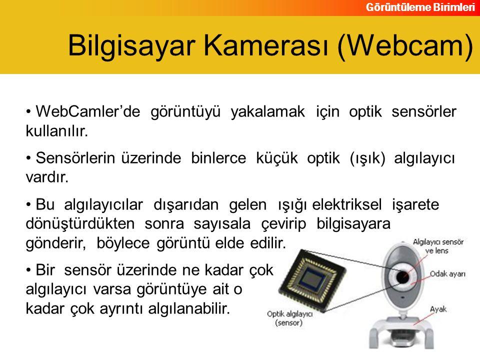 Görüntüleme Birimleri WebCamler'de görüntüyü yakalamak için optik sensörler kullanılır. Sensörlerin üzerinde binlerce küçük optik (ışık) algılayıcı va