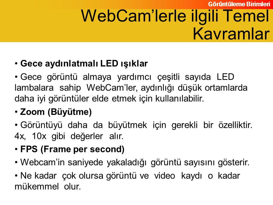 Görüntüleme Birimleri Gece aydınlatmalı LED ışıklar Gece görüntü almaya yardımcı çeşitli sayıda LED lambalara sahip WebCam'ler, aydınlığı düşük ortaml