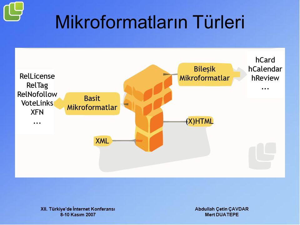 XII. Türkiye'de İnternet Konferansı 8-10 Kasım 2007 Abdullah Çetin ÇAVDAR Mert DUATEPE Mikroformatların Türleri