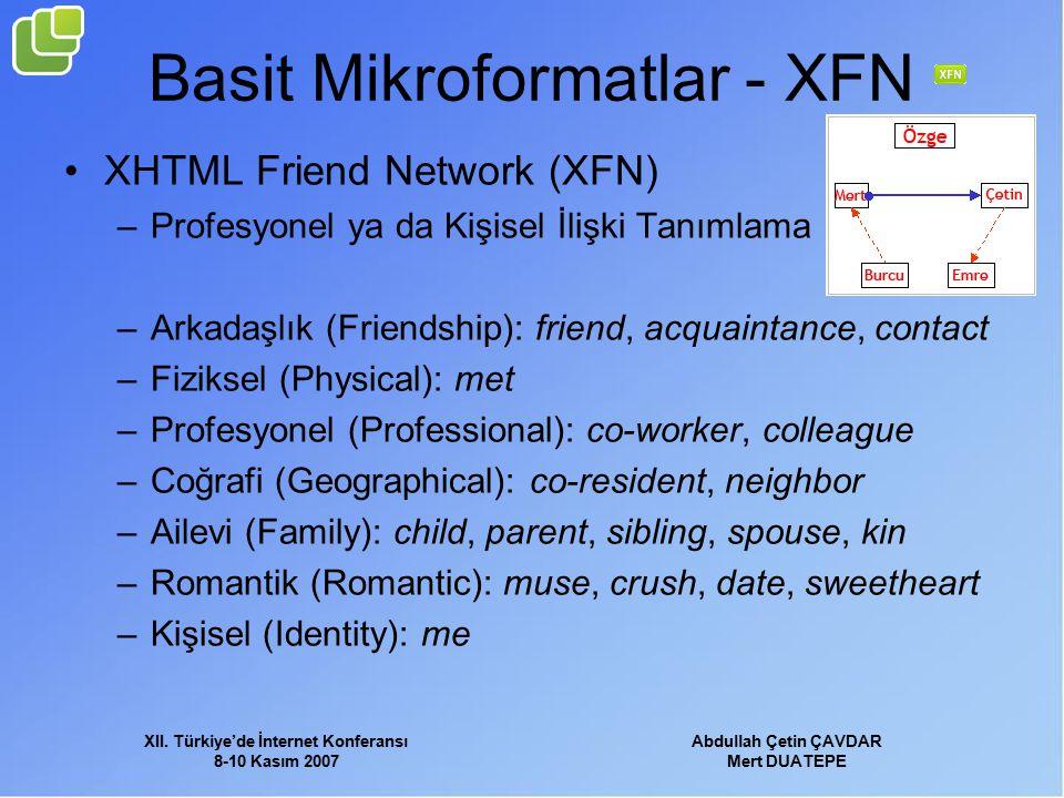 XII. Türkiye'de İnternet Konferansı 8-10 Kasım 2007 Abdullah Çetin ÇAVDAR Mert DUATEPE Basit Mikroformatlar - XFN XHTML Friend Network (XFN) –Profesyo
