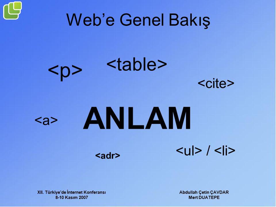 XII. Türkiye'de İnternet Konferansı 8-10 Kasım 2007 Abdullah Çetin ÇAVDAR Mert DUATEPE Web'e Genel Bakış ANLAM /