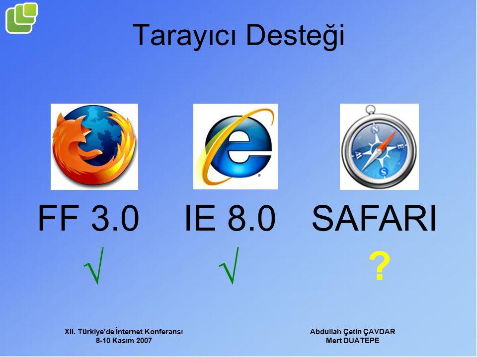 XII. Türkiye'de İnternet Konferansı 8-10 Kasım 2007 Abdullah Çetin ÇAVDAR Mert DUATEPE Tarayıcı Desteği FF 3.0IE 8.0 SAFARI √ √ ?