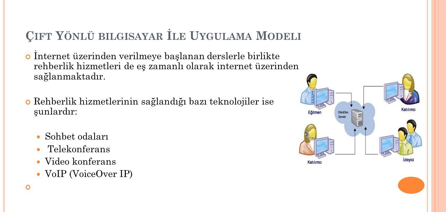 Ç IFT Y ÖNLÜ BILGISAYAR İ LE U YGULAMA M ODELI İnternet üzerinden verilmeye başlanan derslerle birlikte rehberlik hizmetleri de eş zamanlı olarak internet üzerinden sağlanmaktadır.