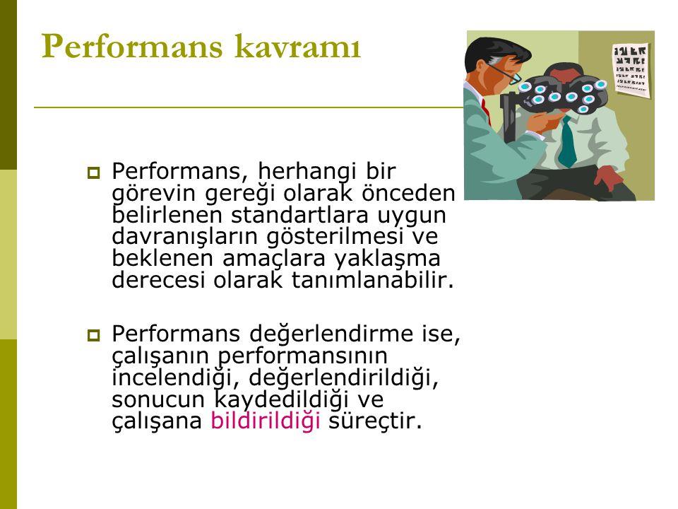 Performans kavramı  Performans, herhangi bir görevin gereği olarak önceden belirlenen standartlara uygun davranışların gösterilmesi ve beklenen amaçlara yaklaşma derecesi olarak tanımlanabilir.