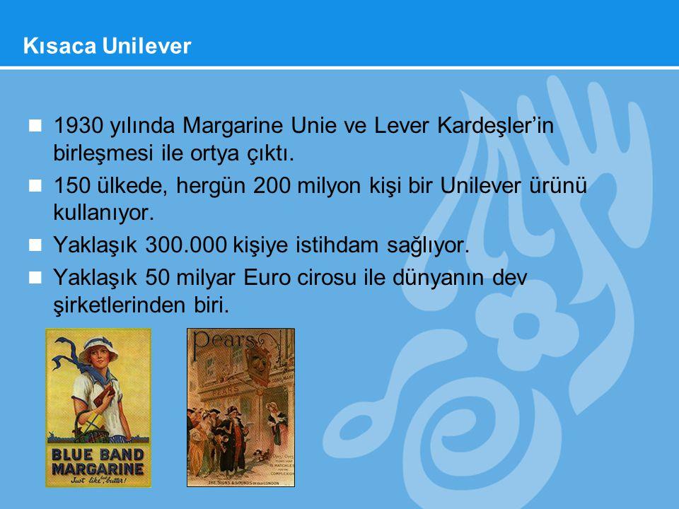 Kısaca Unilever n 1930 yılında Margarine Unie ve Lever Kardeşler'in birleşmesi ile ortya çıktı. n 150 ülkede, hergün 200 milyon kişi bir Unilever ürün