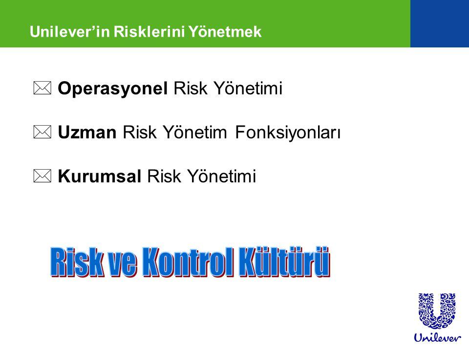 Unilever'in Risklerini Yönetmek * Operasyonel Risk Yönetimi * Uzman Risk Yönetim Fonksiyonları * Kurumsal Risk Yönetimi