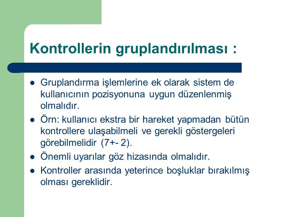 Kontrollerin gruplandırılması : İşlevsel : birbirleriyle ilgili işlevleri olan kontrollerin gruplandırılması, Sıralı : Sıralı yapılması gereken işleri